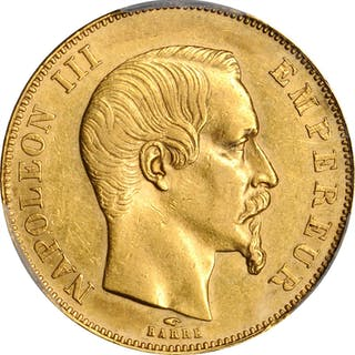 FRANCE. 50 Francs, 1857-A. Paris Mint. Napoleon III. PCGS AU-58 Gold Shield.