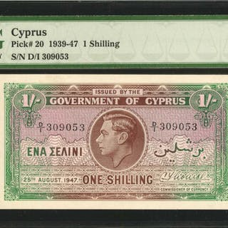 CYPRUS. Government of Cyprus. 1 Shilling, 1939-47. P-20. PMG Gem Uncirculated