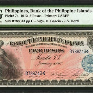 PHILIPPINES. Bank of the Philippine Islands. 5 Pesos, 1912. P-7a.