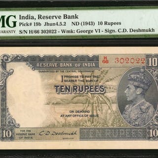 INDIA. Reserve Bank of India. 10 Rupees, ND (1943). P-19b. PMG Extremely