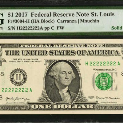 Lot of (10) Fr. 3004-H. 2017 $1 Federal Reserve Note. St. Louis. PMG