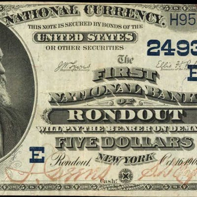Rondout, New York. 1882 Date Back $5 Fr. 537. The First NB. Charter