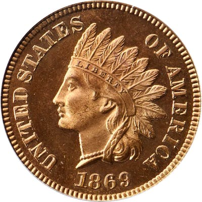 1869 Indian Cent. Snow-PR2. Repunched Date. Proof-66 RD Cameo (PCGS).