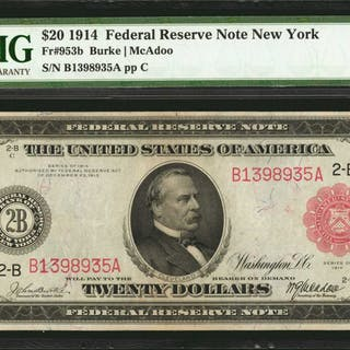 Fr. 953b. 1914 Red Seal $20  Federal Reserve Note. New York. PMG Extremely