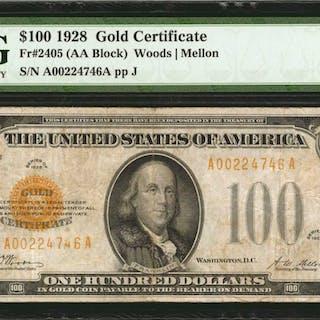Fr. 2405. 1928 $100  Gold Certificate. PMG Very Fine 25.