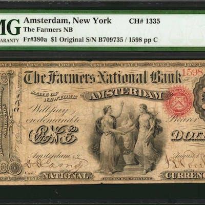 Amsterdam, New York. Original $1 Fr. 380a. The First NB. Charter #1307.