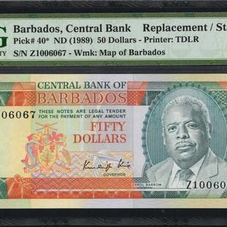 BARBADOS. Central Bank of Barbados. 50 Dollars, ND (1989). P-40. Replacement.