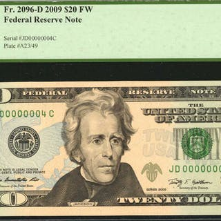 Fr. 2096-D. 2009 FW $20  Federal Reserve Note. Cleveland. PCGS Currency
