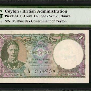CEYLON. Government of Ceylon. 1 Rupee, 1941-49. P-34. PMG Gem Uncirculated