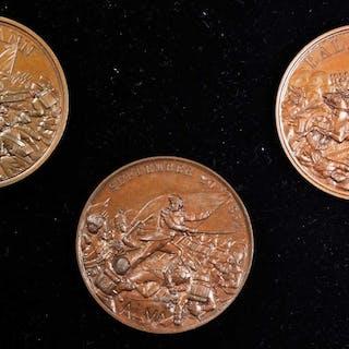TURKEY. Crimean War Bronze Medal Set (3 Pieces), 1854. Average Grade: