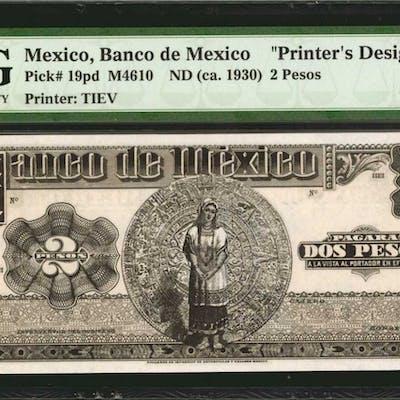 MEXICO. Banco de Mexico. 2 Pesos, ND (ca. 1930). P-19pd. Printers