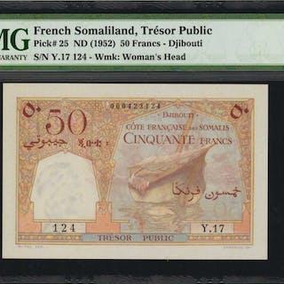 FRENCH SOMALILAND. Tresor Public. 50 Francs, ND (1952). P-25. PMG