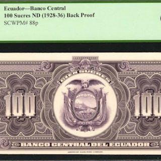 ECUADOR. Banco Central del Ecuador. 100 Sucres, ND (1928-36). P-88p.