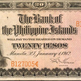 PHILIPPINES. Bank of the Philippine Islands. 20 Pesos, 1912. P-9b. Fine.
