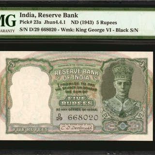 INDIA. Reserve Bank of India. 5 Rupees, ND (1943). P-23a. PMG Gem