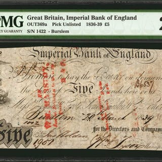 GREAT BRITAIN. Imperial Bank of England. 5 Pounds, 1836-39. P-369a.