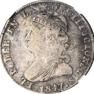 ECUADOR. 2 Reales, 1847-QUITO GJ. Quito Mint. NGC FINE-15.