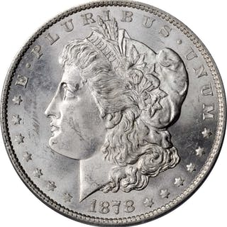 1878 Morgan Silver Dollar. 7 Tailfeathers. Reverse of 1879. MS-63 (PCGS).