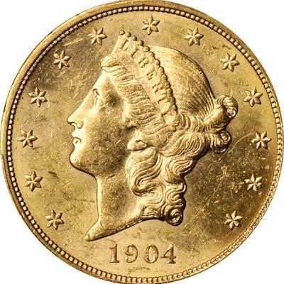 1904 Liberty Head Double Eagle. Unc Details--Gouged (PCGS).
