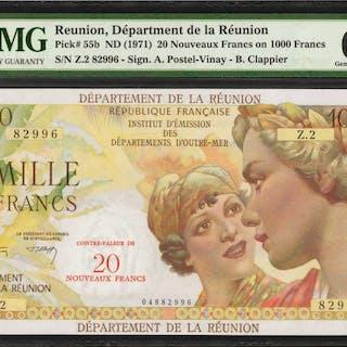 REUNION. Department de la Reunion. 20 Francs, ND (1971). P-55b. PMG