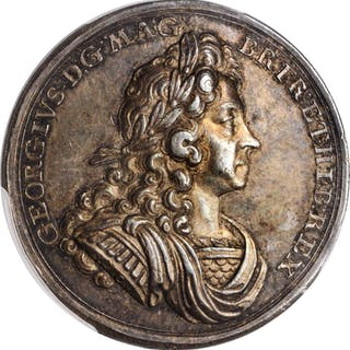 GREAT BRITAIN. Coronation of George I Silver Medal, 1714. PCGS SPECIMEN-55