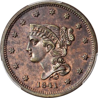 1841 Braided Hair Cent. N-1. Rarity-5. Proof-Only Variety. Noyes Die