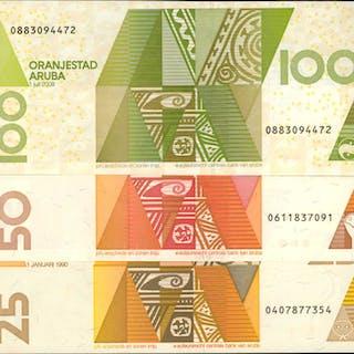 ARUBA. Centrale Bank Van Aruba. 25, 50 & 100 Florin, 1990-2008. P-8