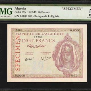 ALGERIA. Banque de l'Algerie. 20 Francs, 1942-45. P-92s. Specimen.