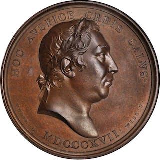GREAT BRITAIN. Mudie's National Series Bronze Medal, ND (1820). George