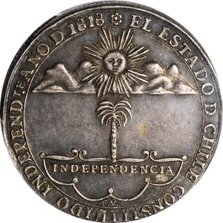 CHILE. Silver Proclamation Medal, 1818. PCGS AU-58 Gold Shield.