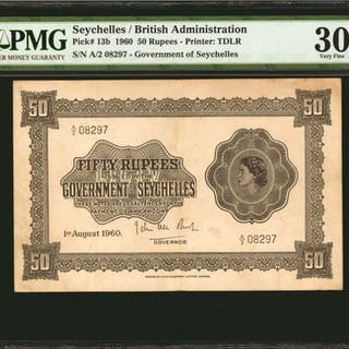 SEYCHELLES. Government of Seychelles. 50 Rupees, 1960. P-13b. PMG Very Fine 30.