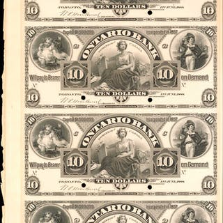 CANADA. Ontario Bank. Sheet of 10 Dollars, 1888. Front and Back Specimen.