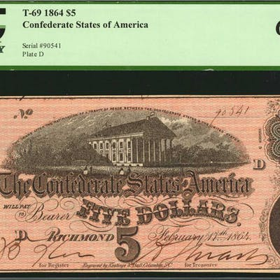 T-69. Confederate Currency. 1864 $5. PCGS Currency Gem New 66 PPQ.