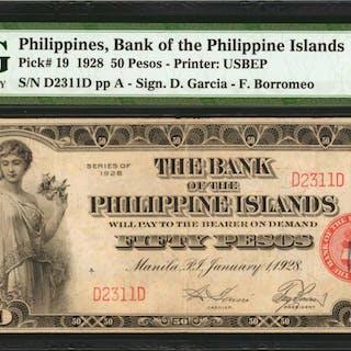 PHILIPPINES. Bank of The Philippine Islands. 50 Pesos, 1928. P-19.