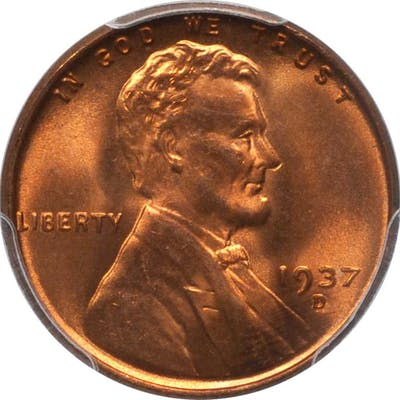 1937-D Lincoln Cent. MS-67+ RD (PCGS). CAC.