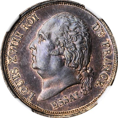 FRENCH COLONIES. Bronze 5 Centimes Essai (Pattern), 1824-A. Paris