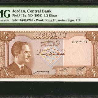 JORDAN. Central Bank of Jordan. 1/2 Dinar, ND (1959). P-13a. PMG Gem