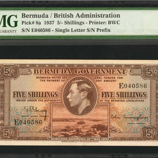 BERMUDA. Bermuda Government. 5 Shillings, 1937. P-8a. PMG Choice Extremely