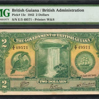 BRITISH GUIANA. Government of British Guiana. 2 Dollars, 1942. P-13c.