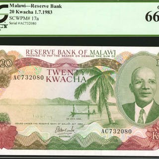 MALAWI. Reserve Bank of Malawi. 20 Kwacha, 1983. P-17a. PCGS Currency