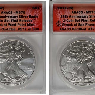 Complete 2011-Dated 25th Anniversary Two-Coin Silver Eagle Set. First