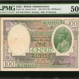 INDIA. British Administration. 100 Rupees, ND (1917-30). P-10c. PMG