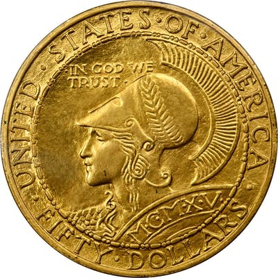 1915-S Panama-Pacific Exposition $50. Round. Unc Details--Spot Removed (PCGS).