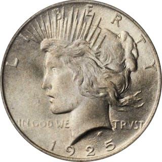 1925 Peace Silver Dollar. MS-66 (PCGS).