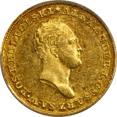 POLAND. 25 Zlotych, 1825-IB. Alexander I. PCGS AU-55.
