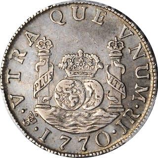 BOLIVIA. 2 Reales, 1770-PTS JR. Potosi Mint. Charles III. PCGS AU-50