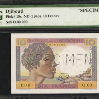 DJIBOUTI. Banque de l'Indo-Chine. 10 Francs, ND (1946). P-19s. Specimen.