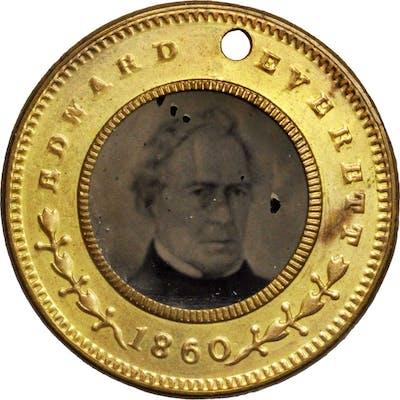 1860 John Bell Ferrotype. DeWitt-JBELL 1860-30. Gilt Brass. 24.3 mm.