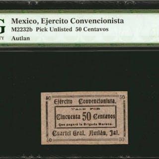 MEXICO. Ejercito Convencionista. 50 Centavos, ND. P-Unlisted. PMG