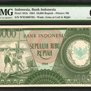 INDONESIA. Bank Indonesia. 10,000 Rupiah, 1964. P-101b. PMG Choice